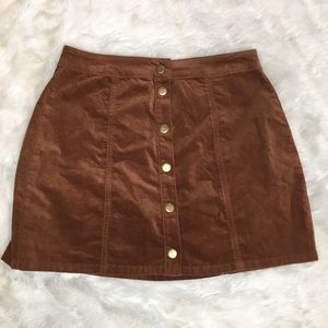 Brandy Melville Brown Suede Button-up Skirt